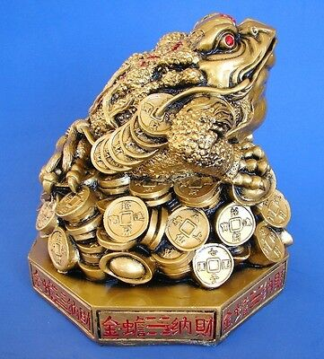Feng Shui Big Bronze Color Money Frog Statue Three Legged Toad Figurine On BaGua