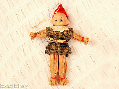 Rare Vtg Halloween & Christmas ELF SCARECROW Ornament Rubber, Straw DELTA JAPAN