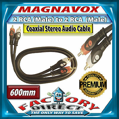 600mm Magnavox 2RCA to 2RCA Coaxial Stereo Audio Cable Lead HQ Heavy Duty