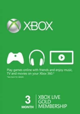 3 Month Xbox Live Gold Subscription Code for US 360 One