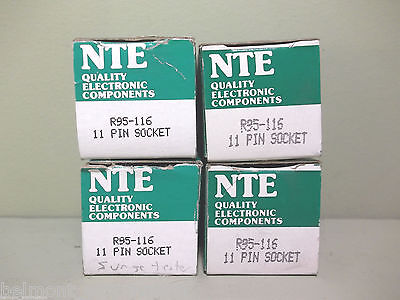 LOT OF 4 NEW IN BOX - NTE Electronics Inc. R95-116 11 Pin Relay Base Sockets