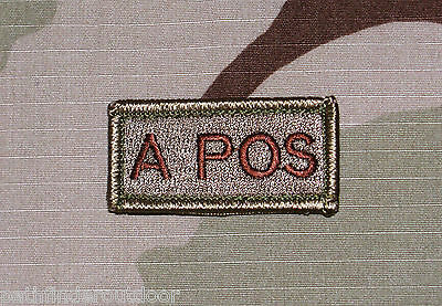 Blood Type Patch Desert Subdued w hook Velcro Backing Free Shipping to US & APO!