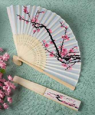 1 x Delicate Cherry Blossom Silk Fan - NEW - Wedding and Party accessory