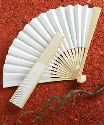 1 x Elegant White Folding Fan - NEW - Wedding and party accessory - 8 inches