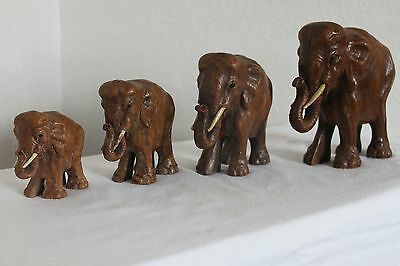Syroco Wood Antique Carnival Elephants * Rare Set * Excellent Condition!