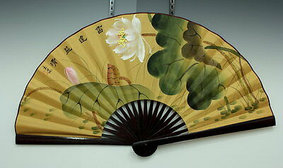 Signed Chinese Silk Hand Painted CHINA BIG FAN FLOWER in Original box