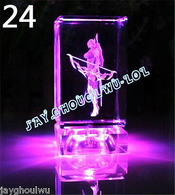 Free Lettering New LOL League of Legends Ashe 3D Crystal Figure Lights