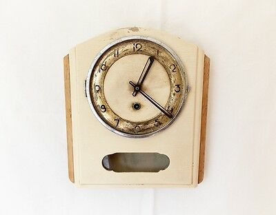 Vintage 1950s Wooden Kitchen wall clock Retro old Antique Shabby Chic Decoration