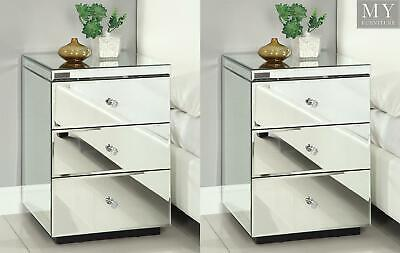 (PAIR) RIO CRYSTAL Mirrored Bedside Table Chest  Nightstand- Mirror Furniture