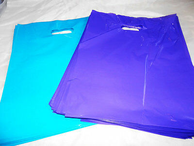 100 12x15 Purple and Teal Blue Low-Density Plastic Merchandise Bags WHandles