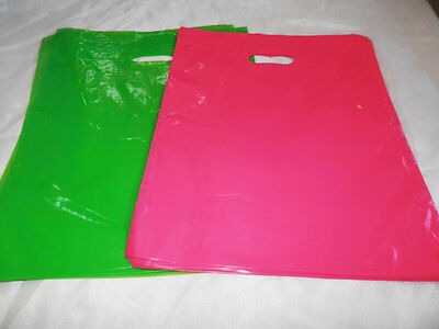 100 12x15 Glossy Lime Green and Hot Pink Low-Density Merchandise Bags WHandles