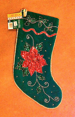"20"" SEQUIN RIBBON CHRISTMAS STOCKING GREEN BRAND NEW"