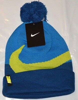 1ae9d6a64eb NWT NIKE BEANIE Winter Pom Hat Youth Boy s Black Gray Neon Swoosh ...