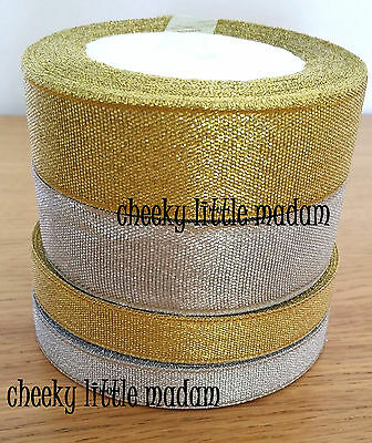 Metallic Gold/ Silver Ribbon Scrapbook Wedding Gift wrap Decor Card Christmas
