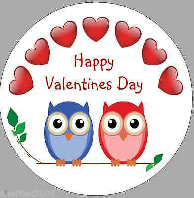 24 x 40mm Personalised Stickers Round Owls Happy Valentines Day Labels