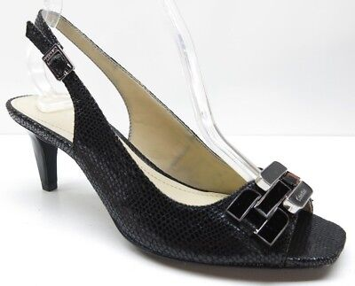59bb2fb26921 Calvin Klein Black Animal Print Slingback Open Toe Sandals Pumps Heels 6.5M  6.5