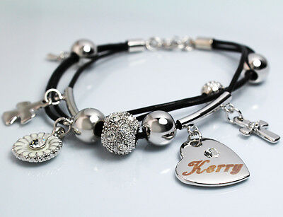 NICOLA Leather Name Bracelet 18ct White Gold Plated Christmas Birthday Gifts