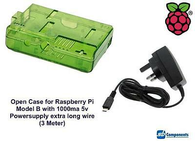 Raspberry Pi Case (Green) for Model B Open with 1000ma Power-supply 3m Wire