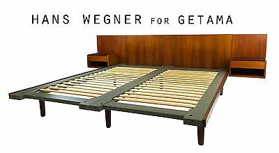 Danish Mid Century Modern Teak Bed by Hans Wegner Headboard + Nightstands
