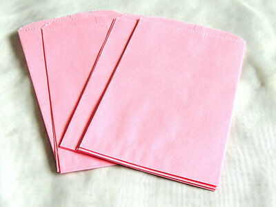 100 -5x7 Pastel Pink Paper Party Bags, Paper Merchandise Serrated Edged Bags