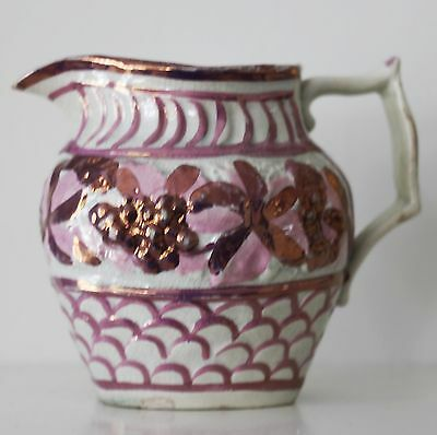 Antique English Pink and Copper Lustre Pitcher Creamer with Flowers and Berries
