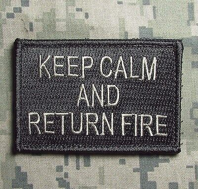 Keep Calm And Return Fire Tactical Combat Usa Army Acu Light Hook Morale Patch