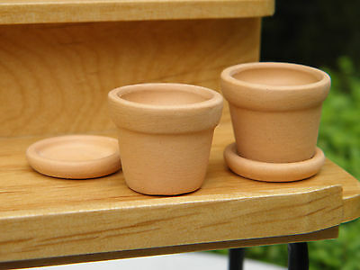 Miniature Dollhouse FAIRY GARDEN Accessories ~ Set of 2 Clay Pots with Saucers