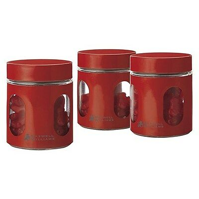 Maxwell & Williams Cosmopolitan Colours Canister Red Set 3 600ML Gift Boxed
