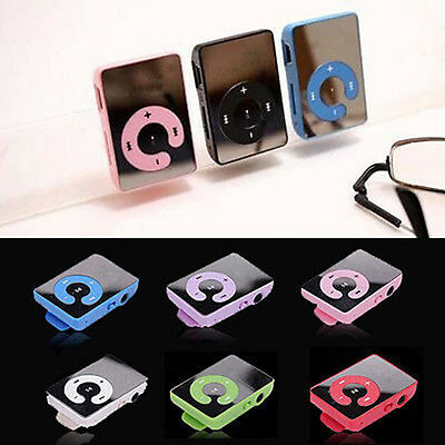 6 Colors  Mirror Clip USB Digital Mp3 Music Player Support 8GB SD TF Memory Card