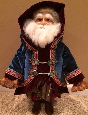 """Katherine's Collection 24"""" Retired Blue Christmas Santa Doll New"""
