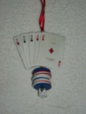 Las Vegas Poker Chips Playing Cards Dice Christmas Ornament-Cute!!