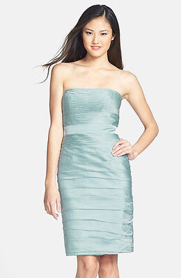 MONIQUE LHUILLIER ICE MINT RUCHED STRAPLESS CATIONIC CHIFFON BRIDESMAID DRESS 2