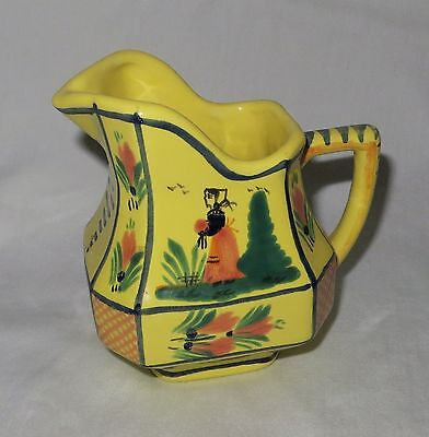 Vintage Quimper Creamer or Small Pitcher France Yellow