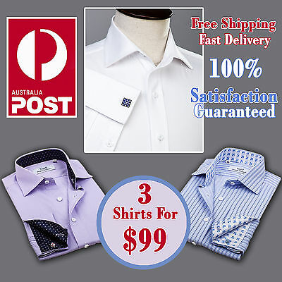 3x Mens White Herringbone Checkered Formal Business Shirt Special Gift Bundle A+