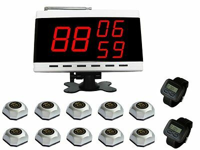 SINGCALL Wireless Waiter Service Calling System Hotel 10 Bells,2 Watch,1 Display