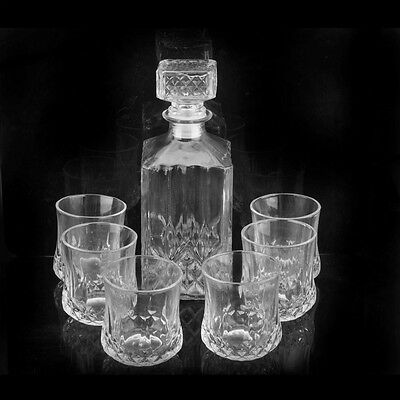 Crystal Glass Wine Bottle with 6 Cups Set Wine Decanter Wine Carafe Whiskey Pour