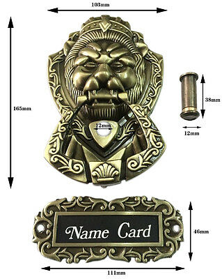 UniDecor New Design Lion Door Knocker Lion Head With Door Eyes and Name Card