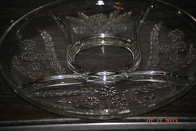 """Indiana Glass Wheat/Daisy 4 part Relish Dish Clear Glass with Design 11 1/2"""""""