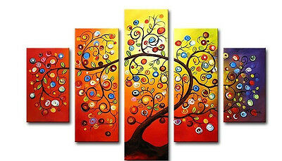 Beautiful 5pc Handmade Abstract Huge Oil Painting On Art Canvas -Tree of Life