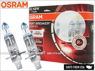 NEW! H1 OSRAM Night Breaker Unlimited (NBU) Halogen Headlight Bulbs 110%+ DOT
