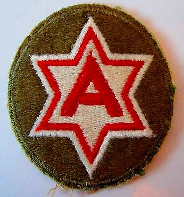 Vintage Original WW2 Era US Army 6th Shoulder Patch Military World War Two Oval
