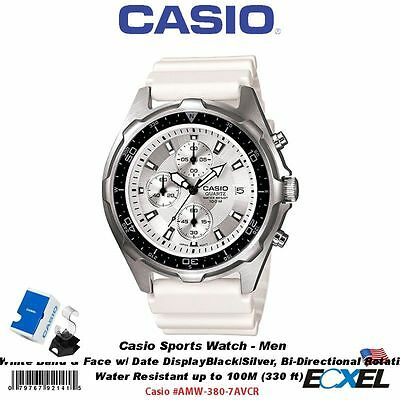 Casio #AMW-380-7AVCR Sports Men's Watch, Analog, White Resin Band