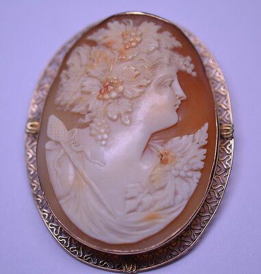 Antique 14K Yellow Gold Huge Cameo Pin Pendant Baccante Maiden Grapes Filigree