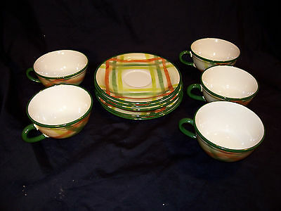 Vernon Kilns 5 cups and saucers, Tam O'Shanter pattern