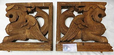 Lg French Antique Wood Statues Corbels Posts Feet w/ Lions Architectural Salvage