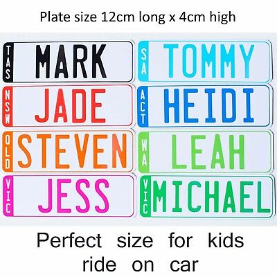 Set Of 2 Novelty Kids Custom Personalised Licence Number Plates For Ride On Cars