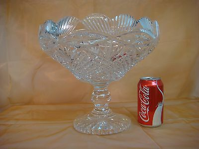 AMERICAN BRILLIANT CUT GLASS PEDESTAL CRYSTAL BOWL SCALLOPED FOOTED