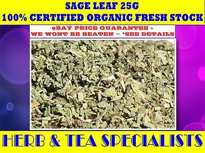 SAGE LEAF ORGANIC 25G -100% Salvia officinalis☆HERBAL☆RELAX☆REMEDY☆HEALTH☆SAVE$$