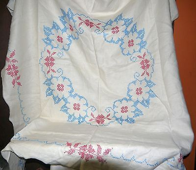 Vintage Homemade Embroidered Tablecloth White w/ Red & Blue Floral Design NICE