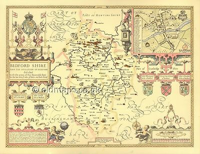 Bedfordshire Mounted & Framed Speed Replica  old 1610 Map, All Hand Coloured